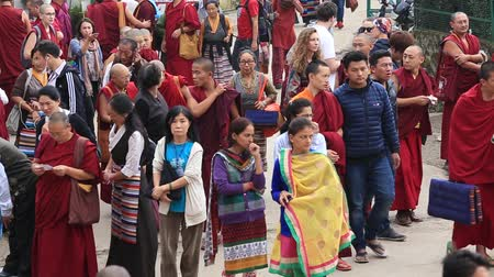 hacı : DHARAMSALA, INDIA - SEPTEMBER 25, 2014: Unidentified Tibetan monks and people from the lessons of the Dalai Lama, Buddhist temple, McLeod Ganj Stok Video
