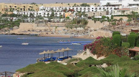 slunečník : SHARM EL-SHEIKH, EGYPT - MAY 24, 2018: Beautiful hotel, Palm trees near the beach and the red sea in Sharm El Sheikh, South Sinai, Egypt