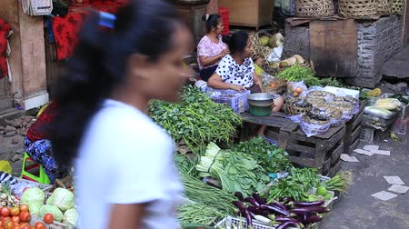 market vendor : UBUD, BALI, INDONESIA - MARCH 28, 2018: Ubud, island Bali, Indonesia. Early morning fruit and vegetable market Stock Footage