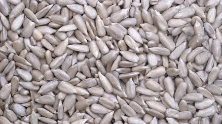 peeled grains : Sunflower seeds close up rotation loopable 4k top view. Macro sunflower seeds Stock Footage
