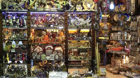 statuette : SHARM EL-SHEIKH, EGYPT-MAY 20, 2018: Egyptian souvenirs for sale for tourists at a local store in the Naama Bay area in Sharm El Sheikh, South Sinai, Egypt. The Asian market in the Arabian Egypt