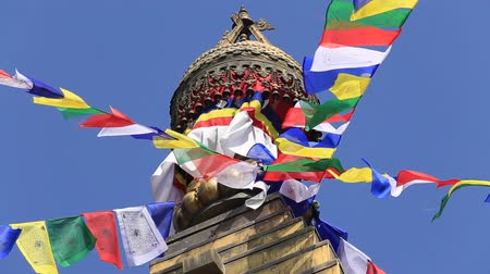 mantra : Prayer colorful flags flying from the Buddhist Stupa, a place of holy worship. Buddhist Temple in the Kathmandu valley, Nepal