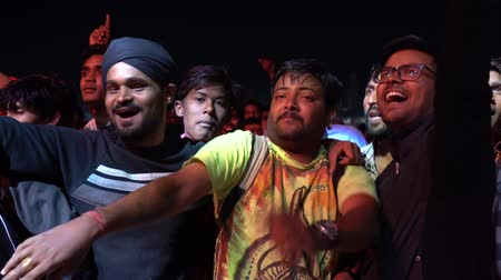 Group of friends dancing at live music concert. Pushkar, India Wideo