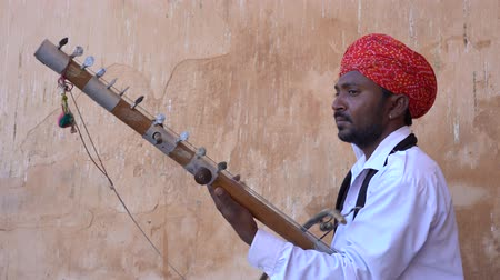 Indian musician play on traditional music instrument for tourists. India Wideo