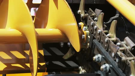 chairlift : rotation of the drive for snow removal in the snow removal machine. Modern technologies in city cleaning Stock Footage