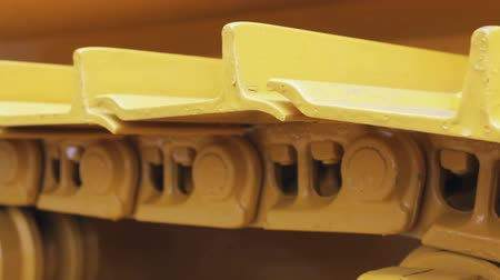 crawler : tracks on the tractor. details of construction equipment and transport. Stock Footage