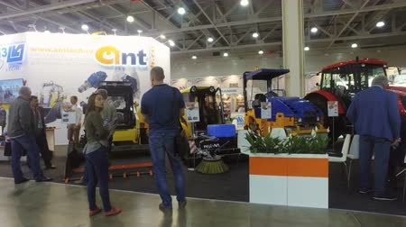hydraulic : Moscow, Russia-June 5, 2018: trucks at the pavilion at the exhibition international specialized exhibition construction equipment and technologies bauma CTT RUSSIA IN Moscow