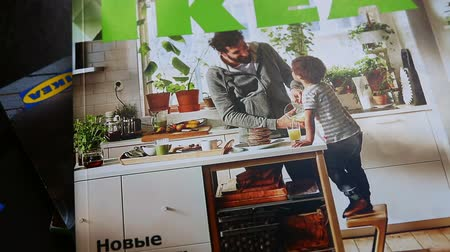 sucessful : Moscow, Russia-may 30, 2018: magazines IKEA store. video rotation. Dutch production and trading group of companies (with Swedish roots), the owner of one of the worlds largest retail chains selling furniture Stock Footage