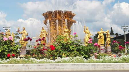 pozlacený : Moscow, Russia-August 09, 2018: tourists and residents of the city on a walk at the fountain Friendship of peoples at VDNH. Time lapse video Dostupné videozáznamy