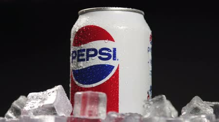 pepsico : Moscow, Russia-October 25, 2018: carbonated Pepsi drink spinning. Carbonated soft drink Pepsi produced by the American company PepsiCo