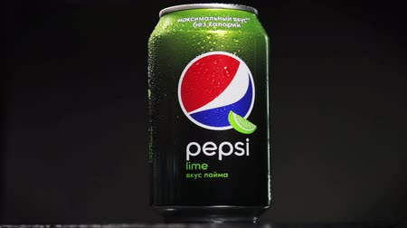pepsico : Moscow, Russia-October 25, 2018: carbonated Pepsi drink with lime flavor rotates. Carbonated soft drink Pepsi produced by the American company PepsiCo