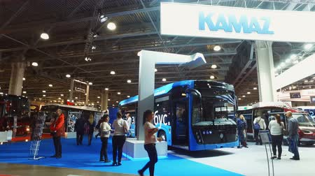 compartimento : Moscow, Russia-October 23, 2018: modern and comfortable city electric bus at the exhibition Busworld Russia 2018. The exposition of KAMAZ