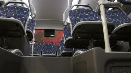modern and comfortable City vehicle bus salon with empty passenger seats