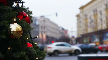 decorated for the holiday of new year and Christmas on the streets. Time lapse