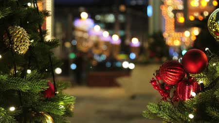 new town : decorated for the holiday of new year and Christmas on the streets. Time lapse