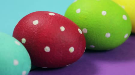 colorful eggs died for the Holy Easter holiday Stock Footage