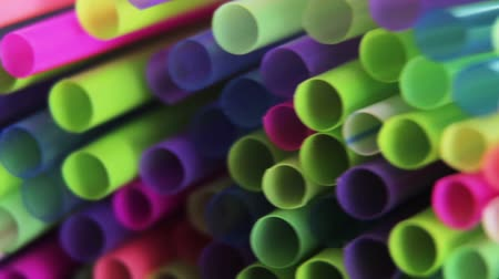 different color cocktail tubes rotation Stock Footage
