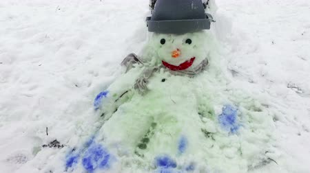 Snowman with a red nose stands in the Park in the snow. Winter fun and games in the fresh air