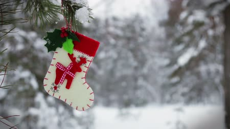 ölen : sock and mittens with Christmas pattern hanging and dying on the clothesline Stok Video