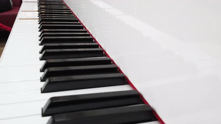 automatický : white electric piano plays music itself. Piano keys are pressed automatically