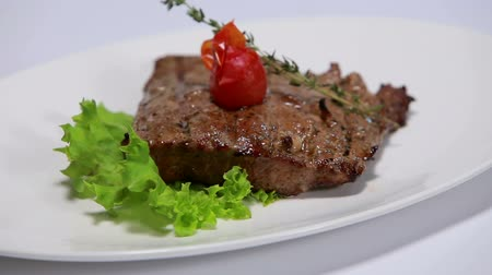 cielęcina : veal steak rotating On White Background