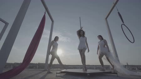 kutuplar : Three beautiful sexy girl performing acrobatic stunts on the roof at sunset.