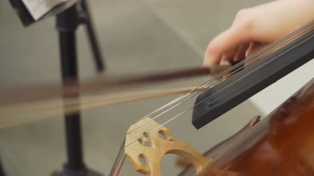 sonata : Close-up of musician playing at cello. Stock Footage
