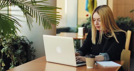 образованный : Young blonde girl works with a laptop sittig at the table in cafe. Freelancer is looking for a job, printing something and drinking coffee