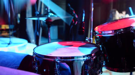 musicians stage : Concert of rock band. Drummer playing on stage