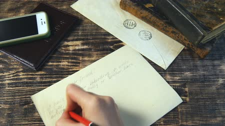 pas : Woman hand fast write letter on vintage background