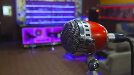 radyo : Microphone on stage at event Stok Video