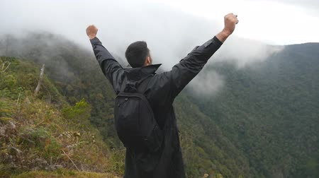 peak : Young male hiker with backpack reaching up top of mountain and raised hands. Man tourist standing on the edge of beautiful canyon, victoriously outstretching arms up. Slow motion Rear back view Stock Footage