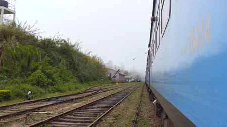 locomotiva : Low angle view from doors of old blue train crossing small village in morning. Passenger railway transport moving through beautiful scenic countryside. Concept of travel. Close up