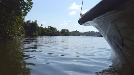 povrchové vody : Low angle view of water surface from floating boat on river in tropical country at sunny day. The lake surrounded by coastline with green vegetation. Concept of vacation or holiday. Close up