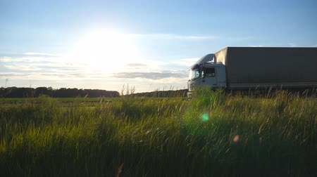 Truck driving on a highway with sun flare at background. Lorry rides through the countryside with beautiful landscape. Slow motion Side view Stock mozgókép