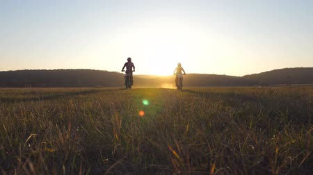 enduro : Two motorcyclists passing through large field with beautiful sunset at background. Warm summer sun lights up wildfield vegetation. Friends having active rest on nature. Extreme sport. Slow motion Stock Footage