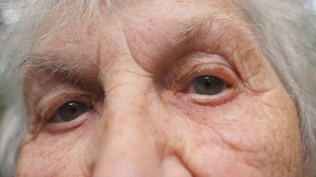 moudrý : Portrait of old grandmother looking at camera. Close up eyes of an elderly woman with wrinkles around them