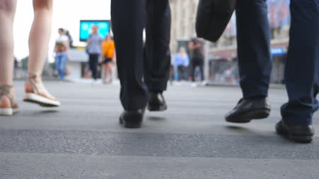 zebras : Feet of two businessmen crossing road in downtown. Legs of male coworkers walking a crosswalk in big city. Young colleagues commuting to work together. Blurred motion. Rear view Slow motion Close up
