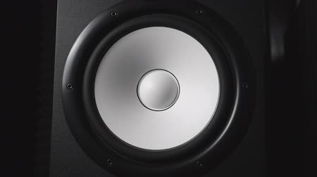pulsate : Close up of moving modern sub-woofer on recording studio. White round audio speaker pulsating and vibrating from sound on low frequency. Work of high fidelity loudspeaker membrane. Slow motion Stock Footage