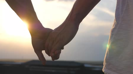 tegenhouden : Male hands holding each other at sunset background. Young gay couple standing on roof and joining hands. Concept of male loving and happiness. Rear back view Slow motion Close up Stockvideo