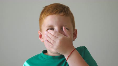 szeplők : Amazed kid covers his mouth with hand and showing shock on his face. Happy child looks into camera with delight and surprise. Portrait of young red-haired boy with freckles. Slow motion Close up