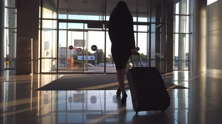 concourse : Young woman in heels walking with her suitcase along airport hall or waiting room. Follow to business lady going to exit from terminal with her luggage. Trip or vacation travel concept. Slow motion