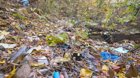 mentiras : Close up of many garbage lies on the ground in autumn forest. Trash is dumped in open and freely available places at nature. Concept of environmental pollution problem. Crane shot Slow motion Vídeos