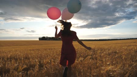 pole : Rear view of happy girl in red dress running through golden wheat field with balloons in hand at sunset. Young woman with brown hair having fun while jogging among barley meadow. Freedom concept