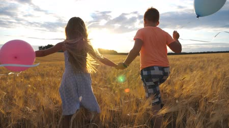 感じる : Small blonde girl and red-haired boy holding hands of each other and running through wheat field. Couple of little kids with balloons jogging among barley plantation at sunset. Concept of child love 動画素材