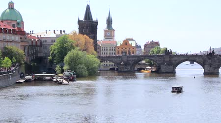 View Of Charles Bridge Czech Republic Wideo
