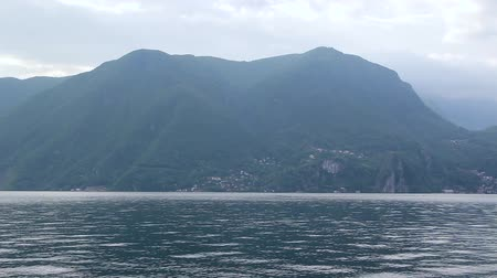 montreux : View Of The Lake Lugano And The Mountain Stock Footage