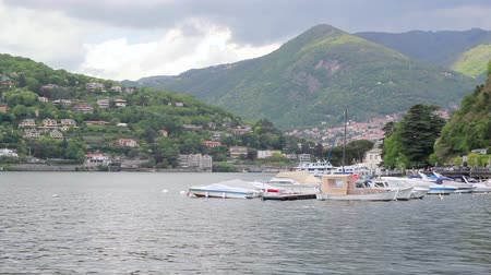 Scenic Italian Village Of Big Mountain Lake With Ships Moored, Como