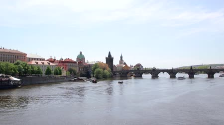 régi : Scenic View Of Bridges On The Vltava River