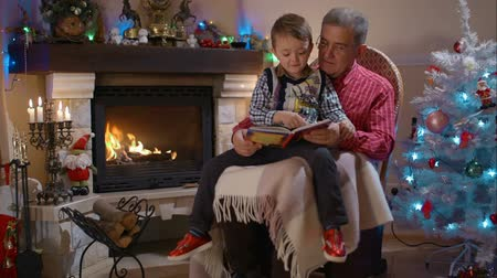 grandchild : Grandfather and grandson sitting on rocking chair and reading a book near the fireplace during the Christmas holidays Stock Footage